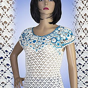 Одежда handmade. Livemaster - original item Tops: Top crocheted Gzhelka. Handmade.