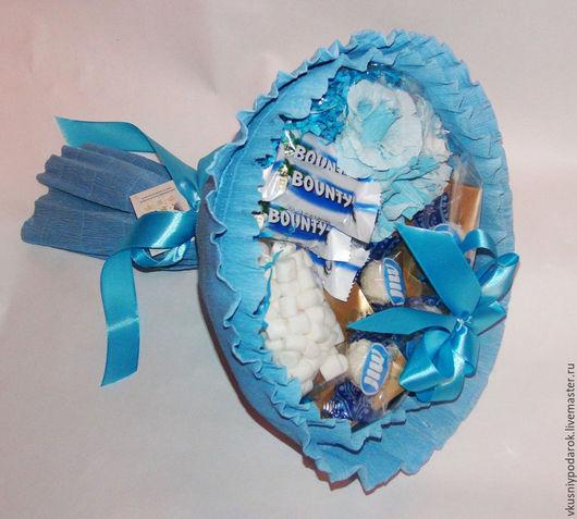"""Букеты ручной работы. Ярмарка Мастеров - ручная работа. Купить Чайно-конфетный букет """"Райское наслаждение"""". Handmade. Голубой"""