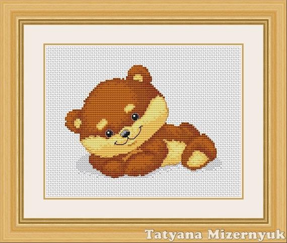 """Вышивка ручной работы. Ярмарка Мастеров - ручная работа. Купить Схема для вышивки крестиком """"Милый медвежонок"""". Handmade. Вышивка крестом"""
