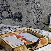 """Для дома и интерьера ручной работы. Ярмарка Мастеров - ручная работа подставки под кружки """"Время отдыха"""". Handmade."""