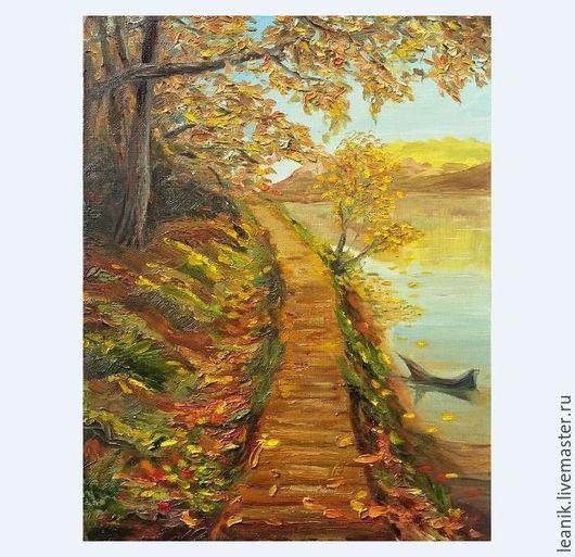 Пейзаж ручной работы. Ярмарка Мастеров - ручная работа. Купить Осень. Handmade. Желтый, осень, масло, картина маслом, озеро