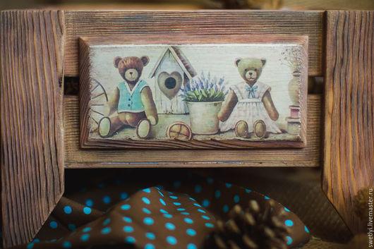 """Корзины, коробы ручной работы. Ярмарка Мастеров - ручная работа. Купить Ящик для игрушек""""Мишки"""". Handmade. Разноцветный, ящик для игрушек, сосна"""