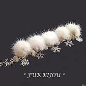 Украшения handmade. Livemaster - original item Bracelet with milk mink fur, rhinestones and pendants. Handmade.