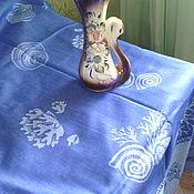 """Для дома и интерьера ручной работы. Ярмарка Мастеров - ручная работа льняная скатерть """"морская"""". Handmade."""