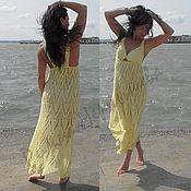Одежда ручной работы. Ярмарка Мастеров - ручная работа Вязаный крючком сарафан «Лимонный ажур». Handmade.