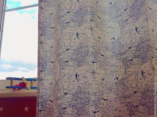 Текстиль, ковры ручной работы. Ярмарка Мастеров - ручная работа. Купить Шторы в детскую Первым делом самолеты. Handmade.