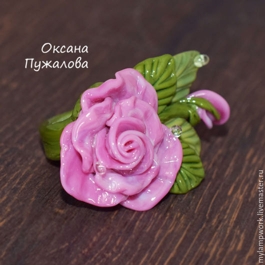 Крупное Кольцо `Розовая роза` 16 размер,   кольцо цветок из стекла