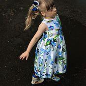 """Работы для детей, ручной работы. Ярмарка Мастеров - ручная работа Платье для девочке """"Незабудки"""", синие цветы. Handmade."""