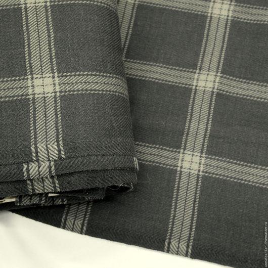 Костюмная ткань в клетку - цвет серый
