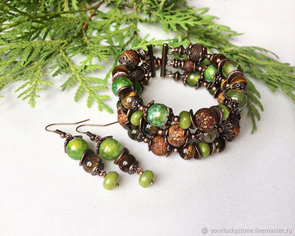 Bracelet natural tiger eye and agate 'In harmony with nature, Bead bracelet, Tolyatti,  Фото №1