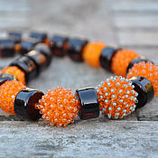 Украшения handmade. Livemaster - original item More beads and lampwork Orange and caramel. Handmade.