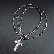 Украшения handmade. Livemaster - original item Hematite cross on a string. Handmade.