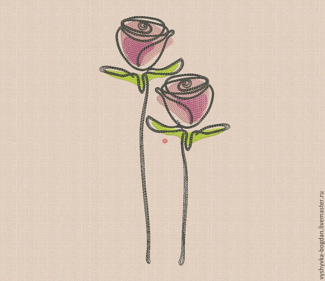Розы вышивка машинная 31
