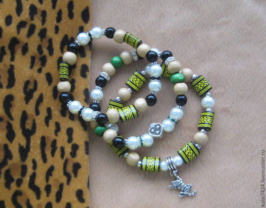 """Браслеты ручной работы. Ярмарка Мастеров - ручная работа. Купить Компллект браслетов """"Добрый тигра"""". Handmade. Браслеты, набор браслетов"""