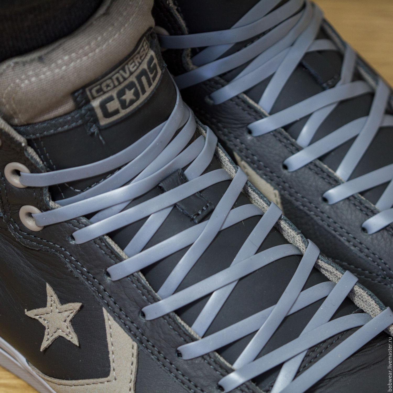 Силиконовые шнурки Lazylace. Серые плоские.