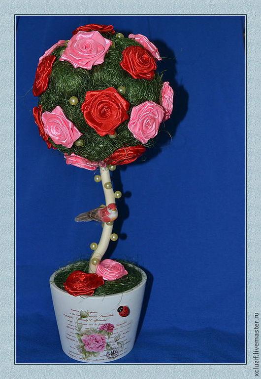 """Топиарии ручной работы. Ярмарка Мастеров - ручная работа. Купить Топиарий """" Розовый рай"""". Handmade. Топиарий, Дерево счастья"""