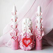 Свадебные свечи ручной работы. Ярмарка Мастеров - ручная работа Свадебные свечи - семейный очаг - резные свечи - Сердечный розовый. Handmade.