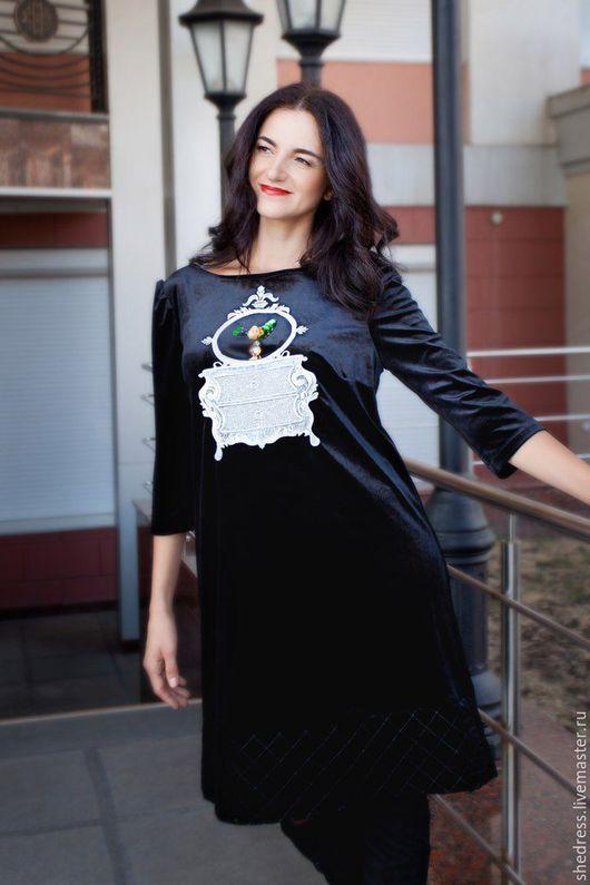 """Платья ручной работы. Ярмарка Мастеров - ручная работа. Купить Для Вас! Дизайнерское платье из бархата""""Винтаж"""". Handmade. Черный, платье"""