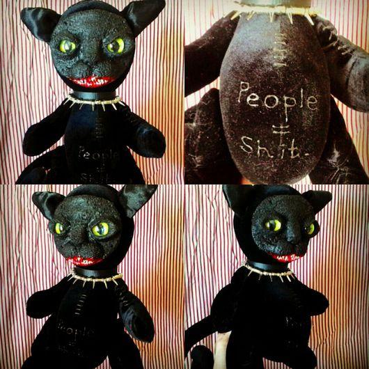 """Коллекционные куклы ручной работы. Ярмарка Мастеров - ручная работа. Купить Демон кот """"People=Shit"""". Handmade. Черный, черный бархат"""