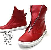 Обувь ручной работы handmade. Livemaster - original item Red shoes with removable strap. Handmade.