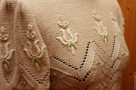 Кофты и свитера ручной работы. Ярмарка Мастеров - ручная работа. Купить Джемпер с вышивкой. Handmade. Белый, джемпер спицами