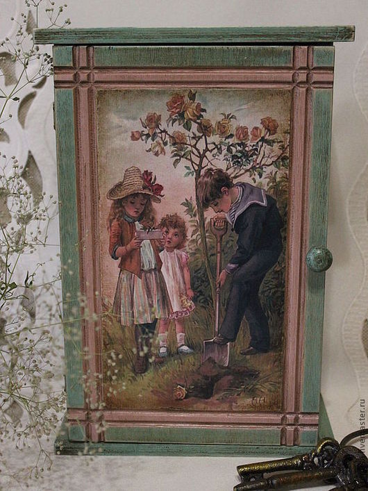"""Прихожая ручной работы. Ярмарка Мастеров - ручная работа. Купить Ключница """" Куст розы """". Handmade. Тёмно-бирюзовый"""