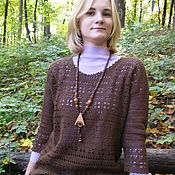 Одежда handmade. Livemaster - original item Jumper women knitted crochet laced Chocolate. Handmade.