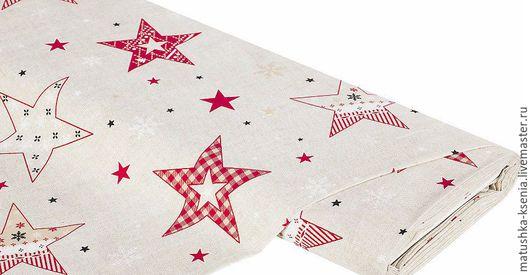"""Шитье ручной работы. Ярмарка Мастеров - ручная работа. Купить Ткань Германия """"Новогодние звезды"""" Новый год для тильды пэчворк. Handmade."""