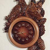 Для дома и интерьера handmade. Livemaster - original item Wolf in the shadow of the eagle.Wall clock.. Handmade.