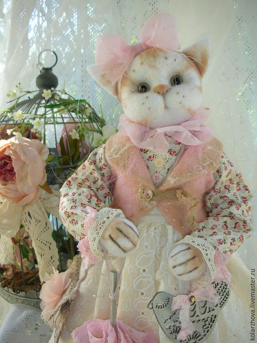 Куклы и игрушки ручной работы. Ярмарка Мастеров - ручная работа. Купить Полли.Интерьерная авторская кошка.. Handmade. Кремовый, лён