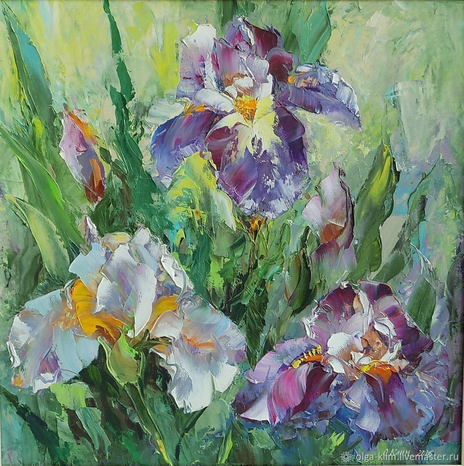 Oil painting Irises in the garden palette knife canvas 40/40, Pictures, Ekaterinburg,  Фото №1