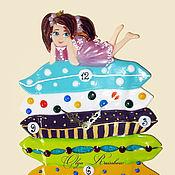 """Для дома и интерьера ручной работы. Ярмарка Мастеров - ручная работа Часы фьюзинг """"Принцесса на горошине"""". Handmade."""