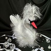 Тедди Зверята ручной работы. Ярмарка Мастеров - ручная работа Белый лебедь Эстебан. Игрушка из перьев. Handmade.