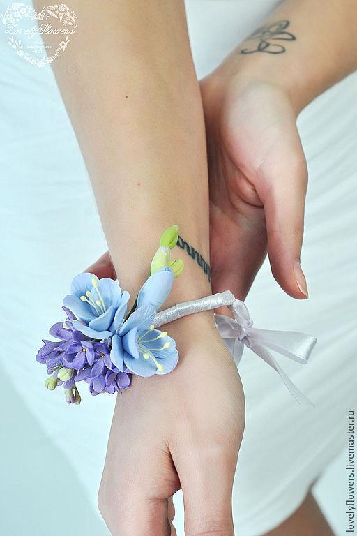 Свадебные украшения ручной работы. Ярмарка Мастеров - ручная работа. Купить Браслет с цветами из полимерной глины. Handmade. Бледно-розовый