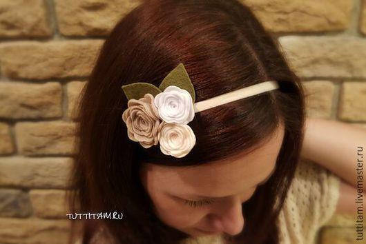 Повязки ручной работы. Ярмарка Мастеров - ручная работа. Купить Повязка на голову из фетра для девочки. Handmade. Повязка на голову