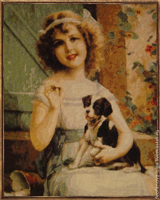 Люди, ручной работы. Ярмарка Мастеров - ручная работа. Купить Девочка с собачкой. Handmade. Разноцветный, Вышитая картина