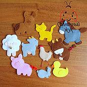 Куклы и игрушки ручной работы. Ярмарка Мастеров - ручная работа Развивающий набор домашних животных из фетра для игр с детьми. Handmade.