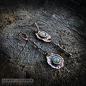 Earrings handmade. Livemaster - original item Asymmetric earrings made of copper with the Labrador. Handmade.