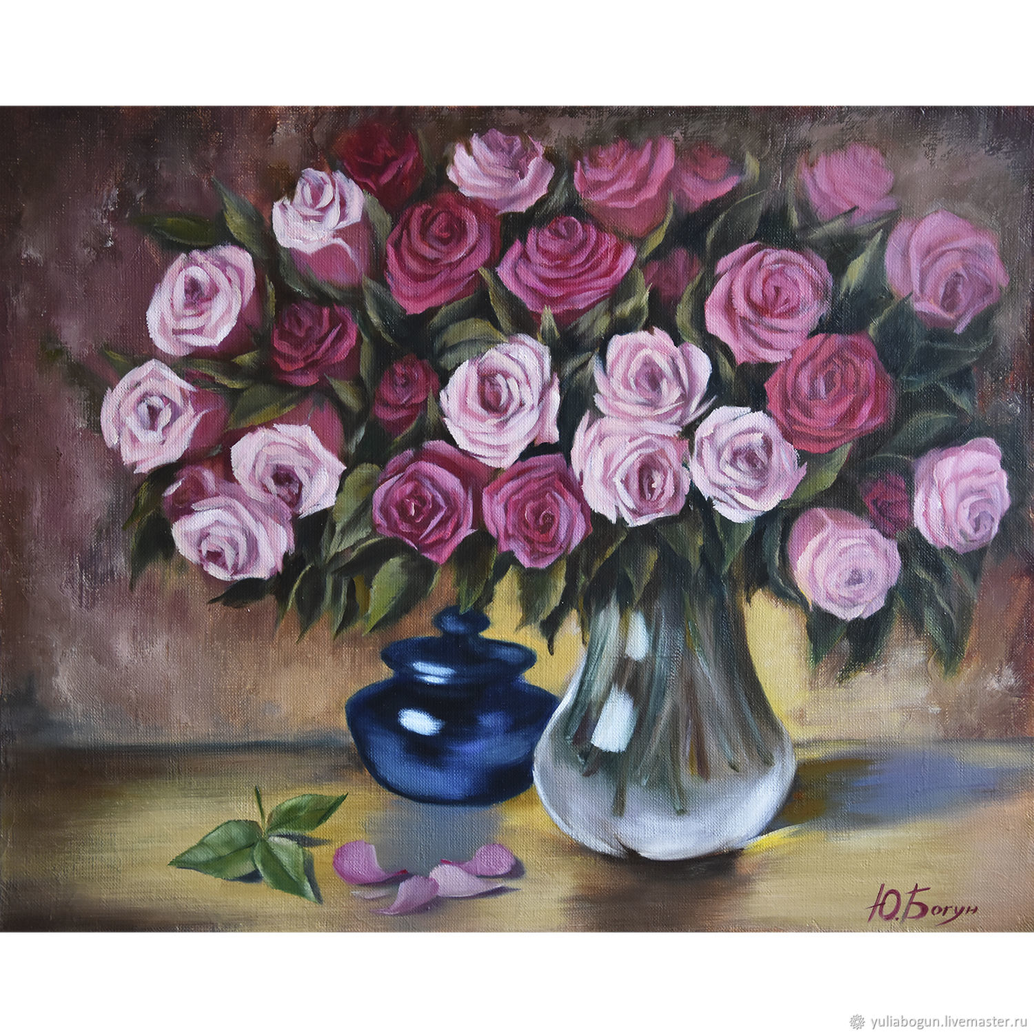 Oil painting 'Bouquet of roses', Pictures, Belorechensk,  Фото №1