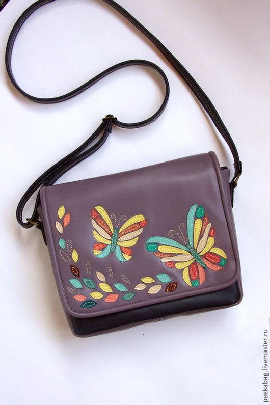 Кожаная сумочка через плечо. Яркая летняя сумочка из натуральной кожи