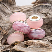 Материалы для творчества handmade. Livemaster - original item Pink clouds - set 5 pc lampwork Branzuletka beads - charms bracelet. Handmade.