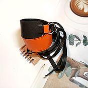 Аксессуары handmade. Livemaster - original item Belt: Black and orange belt. Handmade.