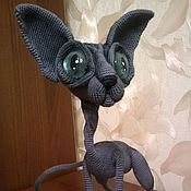 Куклы и игрушки handmade. Livemaster - original item Sphinx hairless cat in grey color with blue eyes. Handmade.