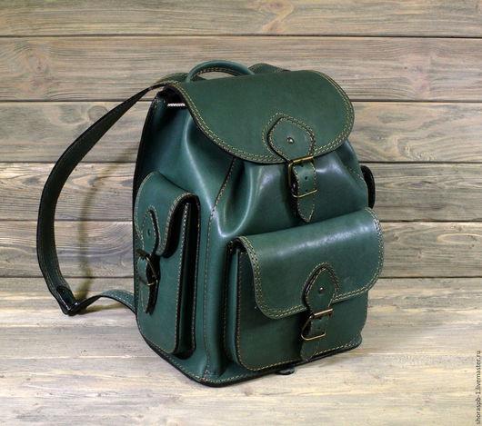 Рюкзаки ручной работы. Ярмарка Мастеров - ручная работа. Купить Рюкзак большой из жесткой кожи, артикул 0422з. Handmade. Тёмно-зелёный