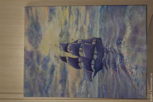 Пейзаж ручной работы. Ярмарка Мастеров - ручная работа. Купить Сиреневый кораблик. Handmade. Разноцветный, море, корабль, закат на море