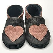 Одежда детская handmade. Livemaster - original item Red Heart Baby Shoes, Pink Baby Shoes, Girls` Shoes, Ebooba. Handmade.