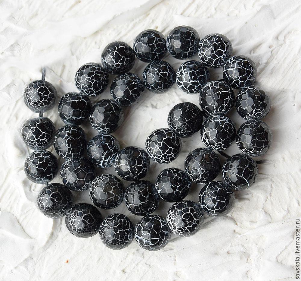 Бусины Агат, натуральный камень, черные кракле, 10 мм