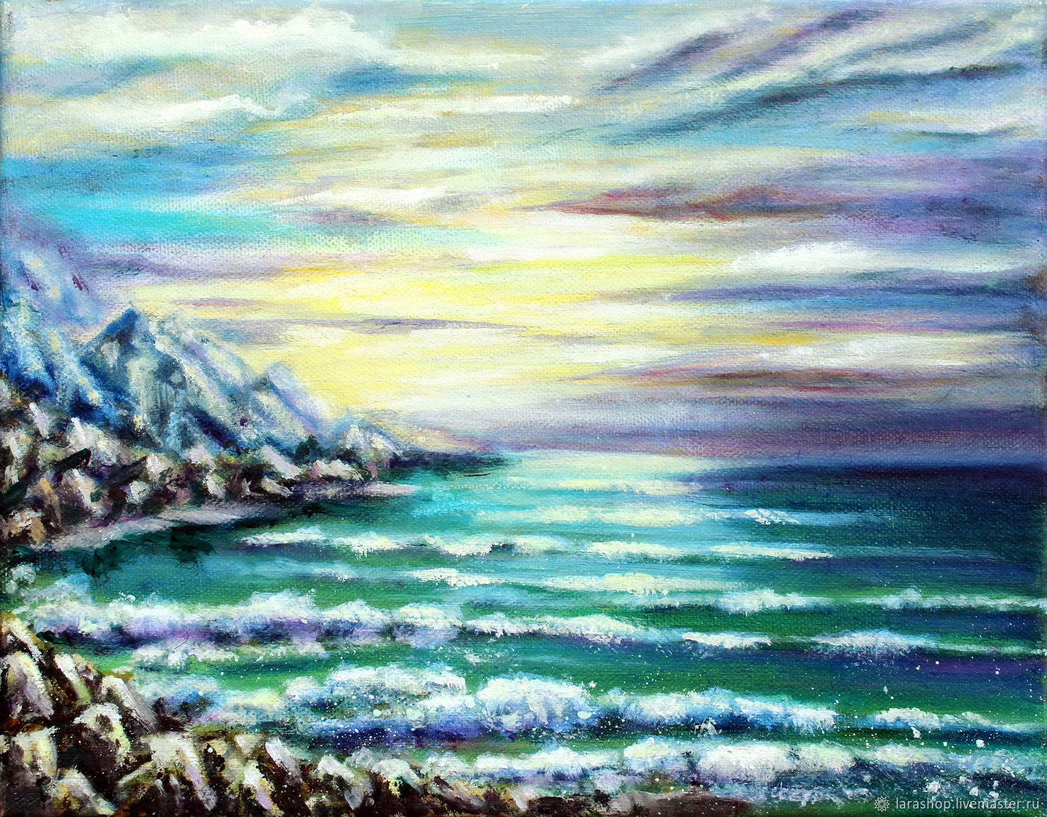 Painting Sea Seascape oil on canvas Evening breeze, Pictures, Moscow,  Фото №1