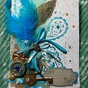 """Открытки ручной работы. Ярмарка Мастеров - ручная работа Крафтовая открытка в подарочной коробке """"Поздравляю"""". Handmade."""