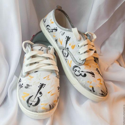 """Обувь ручной работы. Ярмарка Мастеров - ручная работа. Купить Кеды  """"Рок-н-ролл"""", кеды с рисунком, роспись кед.. Handmade."""